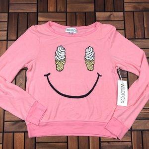 Wildfox Tops - Wildfox Ice Cream Cone Smiley Face Sweatshirt